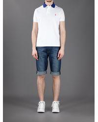Polo Ralph Lauren White Contrast Collar Polo Shirt for men