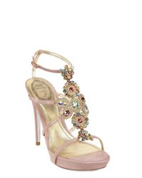 Rene Caovilla - Pink Shiny Satin Sandals with Swarovsky Embroidery - Lyst