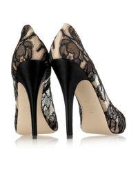 Valentino   Black Floral Mesh Peep Toe Pumps   Lyst