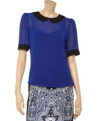 W118 by Walter Baker Blue Lacey Chiffon Top