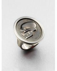 Alexander McQueen Metallic Skull Cameo Ring
