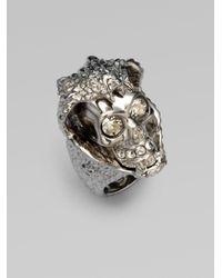 Alexander McQueen Metallic Snake Skull Ring