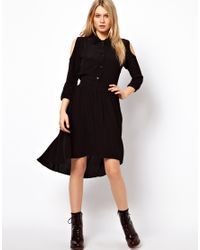 ASOS Collection Black Asos Shirt Dress with Dipped Hem and Cold Shoulder