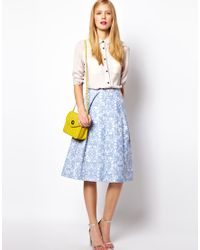 ASOS Collection Blue Midi Skirt in Jacquard