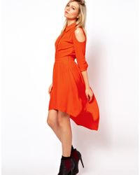 ASOS Collection Orange Asos Shirt Dress with Dipped Hem and Cold Shoulder