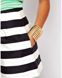 ASOS | Metallic Cut Out Stripe Cuff Bracelet | Lyst