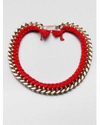 Aurelie Bidermann - Red Do Brasil Thread and Chain Necklace - Lyst