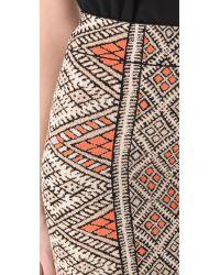 BCBGMAXAZRIA Natural Carmel Patchwork Skirt