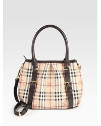 Lyst - Burberry Small Canvas Leather Check Bag in Brown ff9cb13069