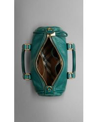 Burberry Green Small Grainy Leather Bowling Bag