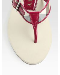 Burberry - Red Patent Leather-Trimmed Check Thong Flip Flops - Lyst