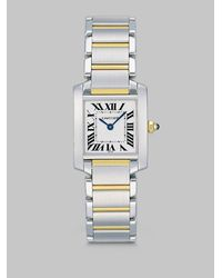 Cartier - Metallic Tank Francaise Stainless Steel & 18k Yellow Gold Watch On Bracelet, Small - Lyst
