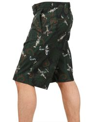 Givenchy Green Paisley Plane Poplin Bermuda Shorts for men