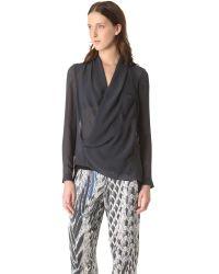 Helmut Lang Blue Lyra Pocket Drape Shirt