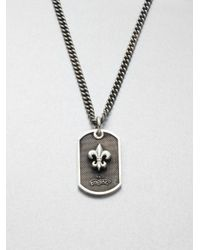 King Baby Studio | Gray Sterling Silver Fleur De Lis Dog Tag Necklace for Men | Lyst