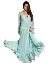 Luisa Beccaria Blue Silk Chiffon Long Dress
