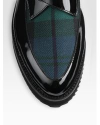 McQ Black Patent Leather and Tartan Monk Oxfords