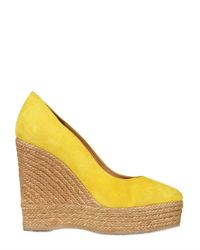 Palomitas By Paloma Barcelo' Yellow 120mm Suede Rope Wedges