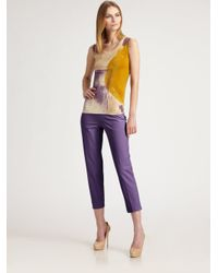 Piazza Sempione Purple Stretch Cotton Pants