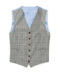 Richard James   Gray Grey Prince Of Wales Check Wool Suit Waistcoat for Men   Lyst