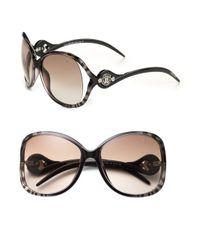 Roberto Cavalli Black Gazania Oversized Injection Sunglasses