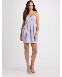 Shoshanna - Purple Strapless Mini Dress - Lyst