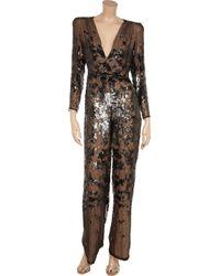 Stella McCartney Brown Arabel Sequinembellished Silkchiffon Jumpsuit