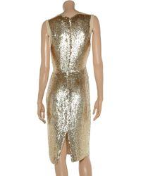Stella McCartney Metallic Sequinned Silk-Chiffon Dress