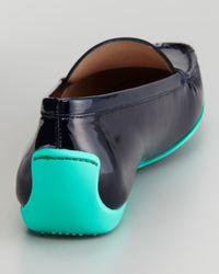 Stuart Weitzman Blue Mach 1 Patent Leather Driver Moccasin
