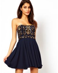 TFNC London | Blue Prom Dress with Jewel Bustier | Lyst