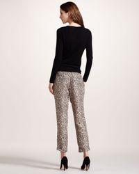 Theory Metallic Leopard-Print Pants