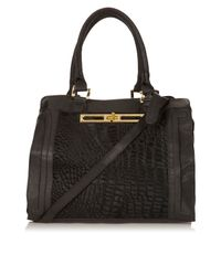 TOPSHOP Black Croc Leather Insert Tote Bag