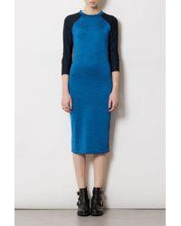 TOPSHOP Blue Space Dye Raglan Bodycon Dress