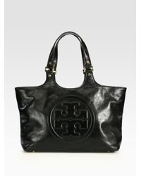 Tory Burch Black Bombe Burch Tote Bag