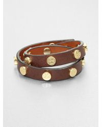 Tory Burch | Brown Double Wrap Leather Bracelet | Lyst