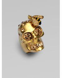 Alexander McQueen Metallic Skull & Bee Ring