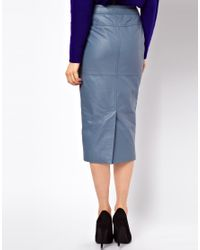 ASOS Collection Blue Biker Pencil Skirt in Leather