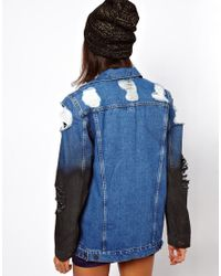 ASOS Collection Blue Denim Oversized Boyfriend Jacket with Rips and Coated Sleeve Detail