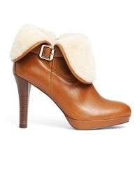 Brooks Brothers Brown Calfskin and Shearling Ankle Boots