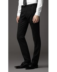 Burberry Black Slim Fit Wool Turn Up Trousers for men