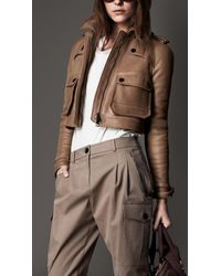 Burberry Brown Cropped Flying Jacket