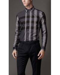 Burberry Gray Tailored Fit Exploded Check Shirt for men