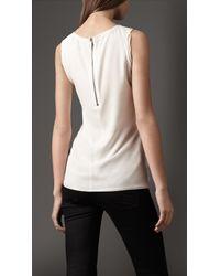 Burberry White Stretch Silk Crêpe Vest