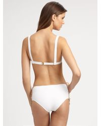 Chloé - White High-waisted Lace-up Bikini Swimsuit - Lyst