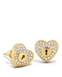 COACH Metallic Pave Lock Heart Stud Earrings