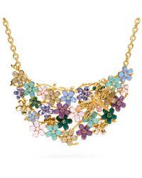 COACH Multicolor Garden Flower Bib Necklace