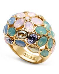 COACH Multicolor Garden Flower Domed Ring