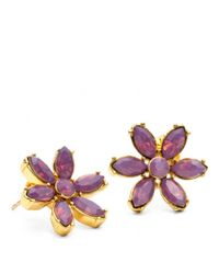 COACH | Purple Faceted Flower Stud Earring | Lyst