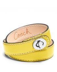 COACH - Yellow Leather Double Wrap Turnlock Bracelet - Lyst