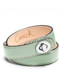 COACH | Green Leather Double Wrap Turnlock Bracelet | Lyst
